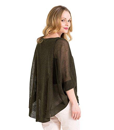 WoolOvers Poncho d'été léger - Femme - Lin & Viscose Forest green