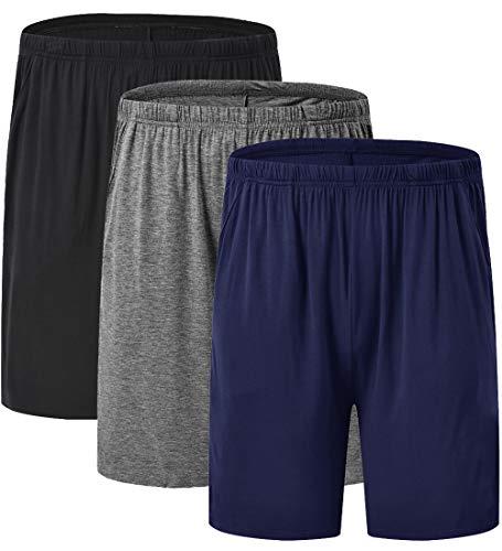 JINSHI Herren Schlafanzug Pyjamahose Kurze Freizeithose Nachtwäsche Shorts 3er Pack Schwarz+Dunkelgrau+Marineblau L -
