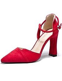 ALUK- Scarpe da donna - Europa e Stati Uniti tacchi alti selvaggi appuntiti  con un unico paio di scarpe da donna sexy… 048a4e0c542