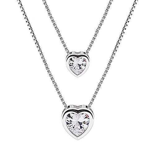 BCatcher-Valentinstag-geschenk-Kette-Set-Damen-925-Sterling-Silber-Zirkonia-Halskette-mit-Doppel-Herz-Anhnger-Schmuck-mit-Etui