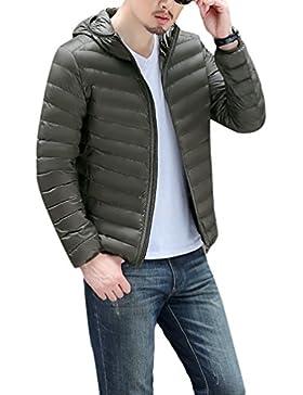 Chaquetas de Plumas para Hombre Hooded Ultra Ligero Plumon Abrigo con Capucha Slim Fit Cazadoras Calentar Invierno...