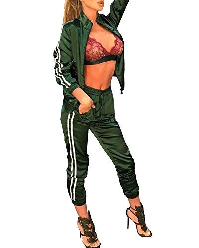 Minetom Damen Sportanzüge Jogginganzug Sexy Satin Reißverschluss Jacke Mantel Beiläufig Streifen Fitness Hose Freizeithose 2 Stück Grün DE 40