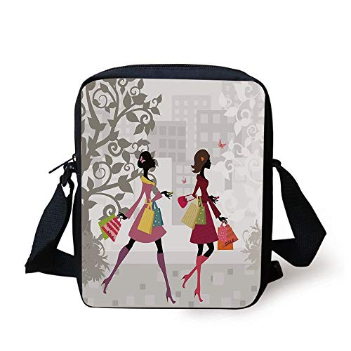 LULABE Teen Room Decor,Retro Fashion Women Shopping in City Streets Beauty Butterfly Urban Graphic Decorative,Multicolor Print Kids Crossbody Messenger Bag Purse