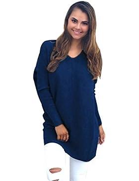 Suéter Jersey Largo Jerseys de Punto Mujer Sueter Cuello V de Dama Sueteres Largos Prendas de Punto Sueters Tejidos...