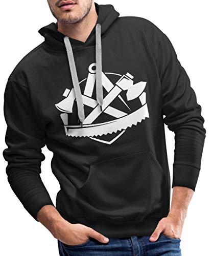 Logo Handwerk Wappen Zimmermann Männer Premium Hoodie, XL, Schwarz ()