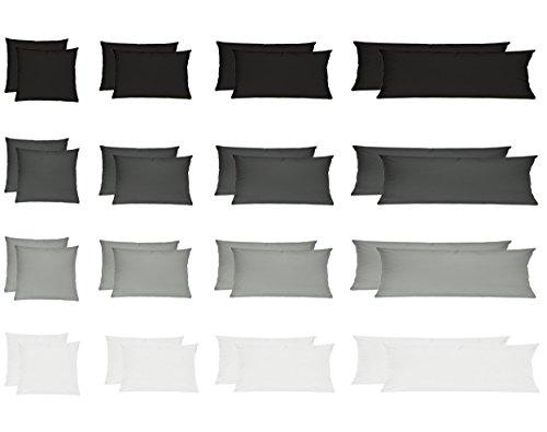 Wasserbetten-Markenshop Renforcé Kissenbezug, Kissenbezüge, Kissenhüllen für Seitenschläferkissen im Doppelpack 100% Baumwolle 40x145 cm Weiss