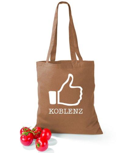 Artdiktat Baumwolltasche I like Koblenz Caramel