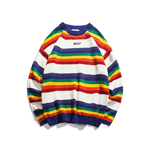 CuteRose Mens Rainbow Thermal Warm Pullover Casual Crewneck Sweatshirts White S Elbow Sleeve Thermal