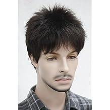 OOFAY JF® elegante castaño corto explosión completa lanuda corta ondulado natural peluca sintética de los