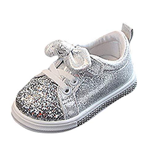 Scarpe da Ginnastica Basse Donna - Sneaker da Camminata Bambini Sportive Scarpe da Corsa Respirabile - Scarpe Antiscivolo Impermeabili Caldo Scarpe Bambina(26,Argento)