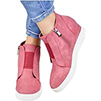 Zapatillas Deportivas de Mujer Sneakers Cuña Botines Casual Plataforma Piel 4.5cm Tacon Medio Invierno Ancho