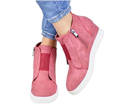 Plateau Sneaker Damen Wedges Hohe Keilabsatz High Leder Kurzschaft 4.5cm Chelsea Ankle Boots Reißverschluss Keil Schuhe Beige Rosa Blau Grau 34-43 PK38