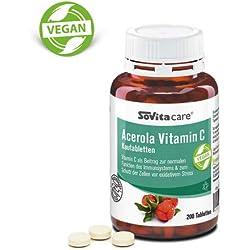 Acerola Vitamin C Kautabletten | Erkältung und Immunsystem | vegan | 200 Tabletten
