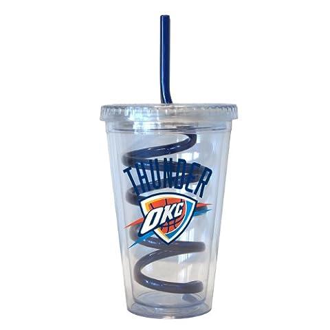 NBA Oklahoma City Thunder Tumbler with Swirl Straw, 16-ounce