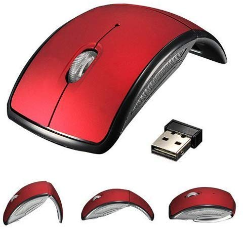 Jambuwala Enterprise 2.4G Cordless Wireless Foldable Folding Optical Mouse Mice with USB Receiver for Laptop Computer Tablet PC Windows 95/98/2000/ME/NT/XP/VISTA/7,MAC, Linux. (Multicolor)