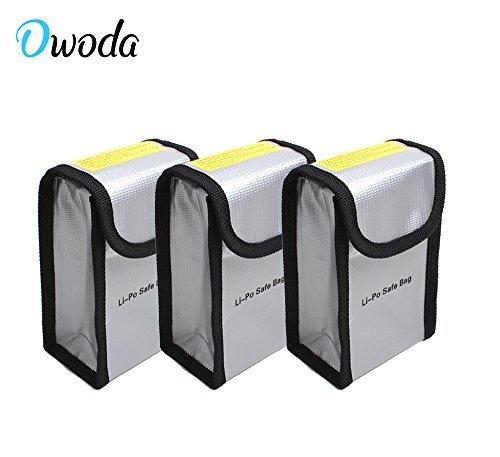 O\'woda 3 Stück Feuerbeständige Explosionsschutz Lipo Batterie-sicherer Beutel-Hülsen-Lipo Battery Guard Tasche Sack Gebühren-Schutz-Tasche für DJI Phantom 4 / 3 / 2