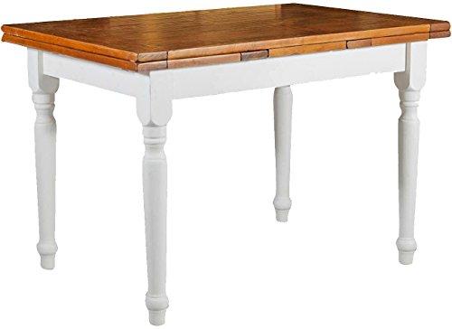 Tavolo allungabile in legno massello di tiglio - stile country - struttura bianca anticata piano noce 120x80x80