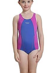 Bwiv maillot de bain fille une pièce maillot de natation competition résistent au chlore pour filles de 2 à 14 ans