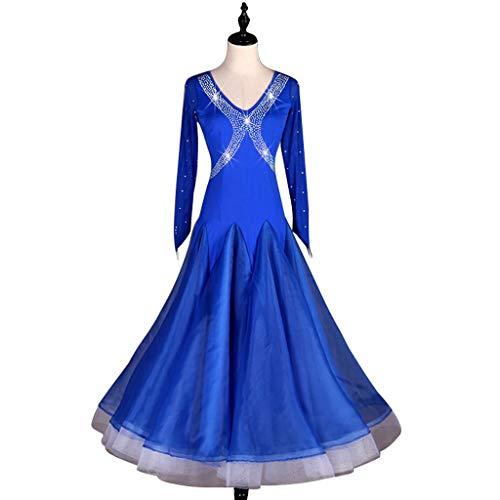 Tanz Performance Moderne Kostüm - Standard Tanz Gesellschaftstanz Turnierkleid Langarm, Walzer Modern Dance Kostüm Mit Strass Performance Rock Big Swing (Color : Royal blue, Size : L)