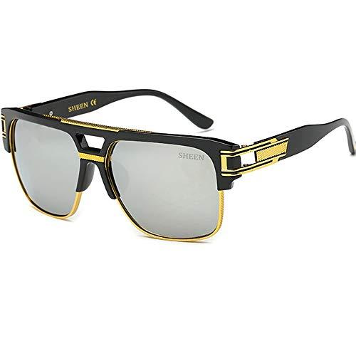 SHEEN KELLY Retro Oversized Sonnenbrille Metall Rahmen großen brille Square Spiegel herren damen Luxus Eyewear hälfte frame piloten Gold UV400 Spiegel Silber Linsen (Sonnenbrillen Lacoste Mann)