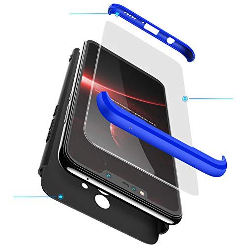xinyunew Cover Nokia 7 Plus,Custodia Nokia 7 Plus,360 Gradi Full Body Protezione+ Pellicola Protettiva in Vetro Temperato della Copertura Completa 3 in 1 Case per Nokia 7 Plus- Blu Nero