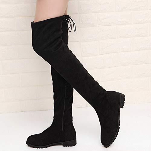 NAFTY Damenschuhe Boots Schlanke Stiefel über dem Knie hoch Wildleder Frauen Schnee Stiefel Damen Winter Oberschenkel hohe Stiefel Schuhe Frau, schwarz, 7 - Knie-hoher Schnee