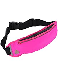 Rose Red : ALCYONEUS Outdoor Gym Fitness Sport Running Waist Bag Phone Holder With Headset Hole