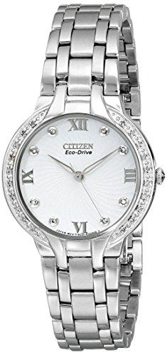 Citizen Bella–Reloj de cuarzo para mujer con esfera analógica y plata pulsera de acero inoxidable EM0120