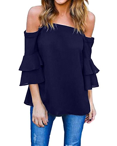 25539df720f8ee StyleDome Damen Schulterfrei Shirt Cold Shoulder Flounce Oversize Träger Top  Oberteil Marine 36