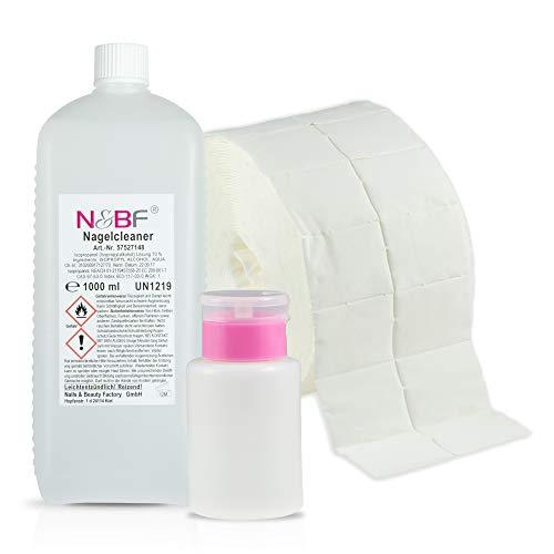 Cleanser Zum Reinigen (N&BF Nagel Cleaner Set 1000ml + Dispenser Pumpflasche + 1000 Zelletten Cellulose Pads (2 Rollen à 500 Stück) - 70% Isopropanol-Alkohol isopropylalkohol 1L - für Gelnägel - Nagelreiniger (Rosa 150))