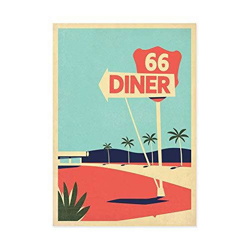 Reiseplakat, Route 66, USA, Retro-Kunstdruck, amerikanisches Restaurant, amerikanische Landschaft, Kalifornien, Palmen, Travel Poster, Reise