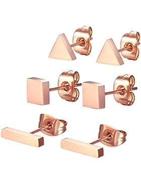 Spinex 3 Paar Edelstahl Rose Gold Ohrstecker Ohrring Set durchbrochen (, rechteckig, quadratisch, Dreieck)