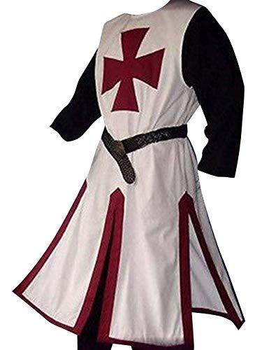 Herren Mittelalter Templer Ritter Kostüm Wikinger Fasching Mantel Tatzenkreuz Tunika Waffenrock Karneval Erwachsene Ritterkostüm
