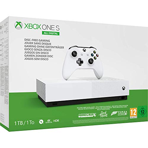 Microsoft Xbox One S All Digital - Consola de 1 TB, color blanco + 1 mes de Xbox Live Gold, 1 mando blanco, Forza Horizon 3 (juego digital), Minecraft (juego digital), Sea of Thieves (juego digital)