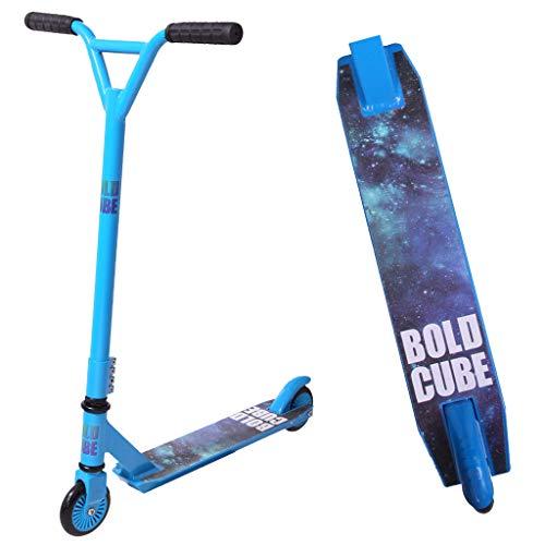 BOLDCUBE Stunt Scooter Stunt Roller - Freestyle Tretroller Pro 360 Grad Trick - Feste Stange - Leichtes Aluminiumdeck - ABEC 7 Lager - Vierfachklammer - Für Erwachsene und Kinder (Zyanblau)