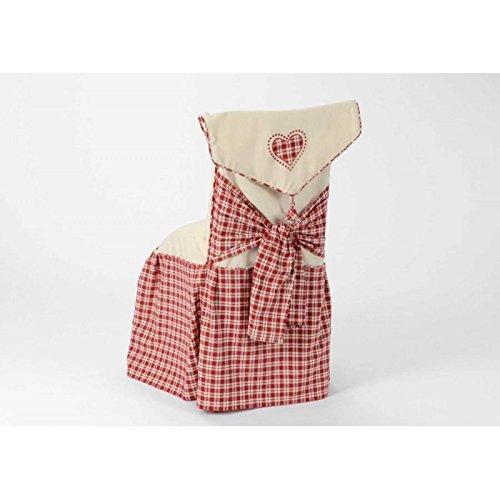 Housse de chaise cœur vichy rouge COUNTRY