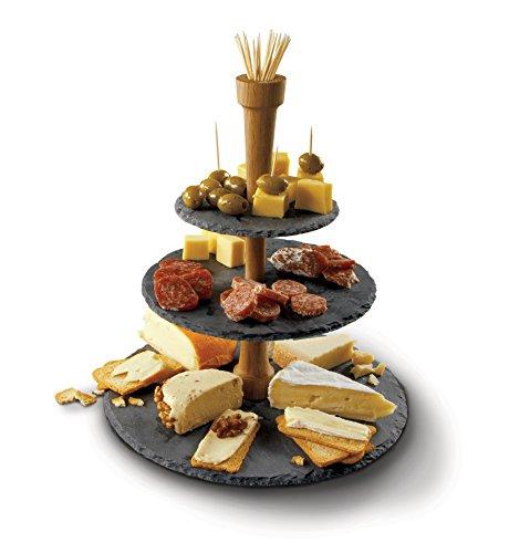 Torre de madera y pizarra para quesos 01