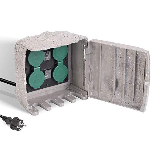 Salcar Wasserdichte Gartensteckdose mit ON/AUTO Dämmerungssensor und 4 Steckplätzen und 3m Verlängerungskabel Außensteckdose, 3680W 16A Mehrfachsteckdosen für Draußen - Grau