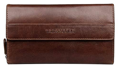 Brown Bear Geldbörse Damen groß viele Fächer lang Leder Braun RFID Schutz Reißverschluss Tobacco Vintage Geldbeutel Frauen Portemonnaie Portmonaise Portmonee Ledergeldbeutel Ledergeldbörse