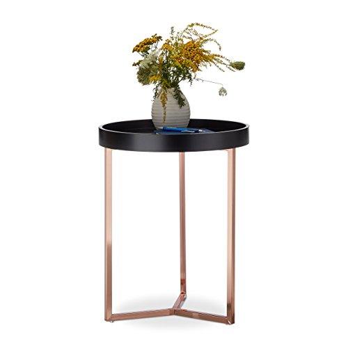 Relaxdays Table d'appoint avec plateau amovible rond, table de canapé cadre en métal bois de hêtre, HxlxP: 50 x 40 x 40 cm, noir