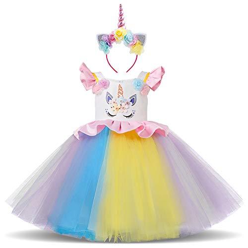 FYMNSI Einhorn Mädchen Kleid Kinder Baby Unicorn Cosplay Blumenmädchen Tütü Tüll Prinzessin Regenbogen Rock mit Stirnband Geburtstag Party Outfit für Halloween Weihnachten Karneval Fotoshooting