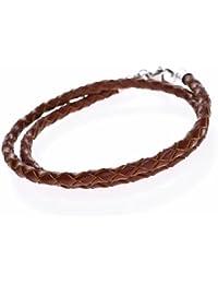 9c1c66243d50af Autiga® Herren Damen Leder-Armband Leder-Halskette Geflochten braun  Edelstahl 3mm 4mm - viele Längen 17…