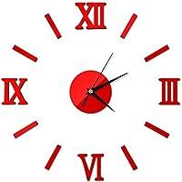 Mcitymall77-Reloj de Pared 3D con Números Adhesivos DIY Bricolaje Moderno Decoración Adorno para Hogar