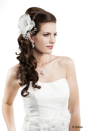 Kopfschmuck zur Hochzeit (W843549) Haar-Clip mit Blüte und Perlchen weiß