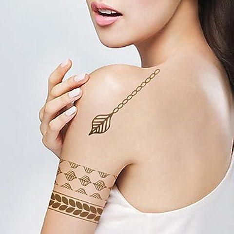 HJLWST® 1pcs gota de lluvia deja oro metálico pulsera y pegatinas tatuaje plata tatuajes temporales (10.5 *