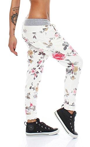 4323 Fashion4Young Damen Haremshose Hose Baggy Boyfriend Freizeithose Jogginghose Sporthose pants Rosa-Multicolor
