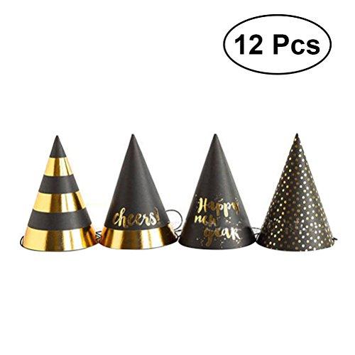 Cappelli per feste capodanno toymytoy cappello a cono di carta per party anno nuovo 12pcs