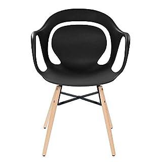 Pharao24 4 Stühle in Schwarz Kunststoff Massivholzgestell