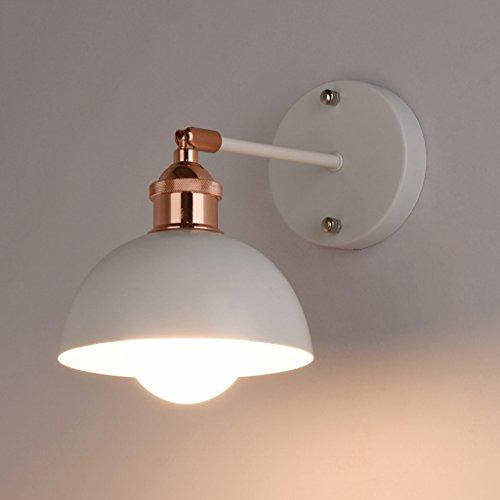 M-zmds lampade da parete nordic modern minimalista industriale applique con colore metallico ferro battuto paralume lanterna da parete per camera da letto comodino soggiorno parete applique ( colore : bianca )