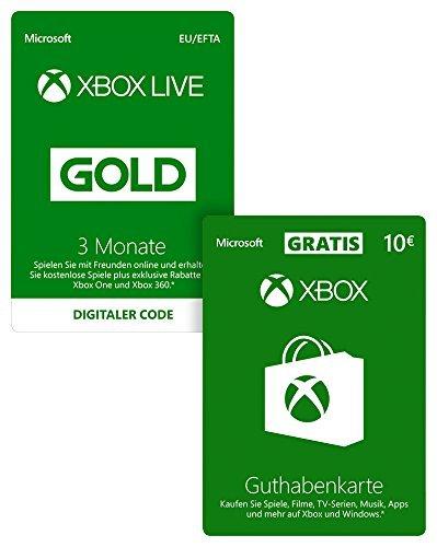 Xbox Live Gold Mitgliedschaft 3 Monate + 10 EUR GRATIS [Xbox Live Online Code]